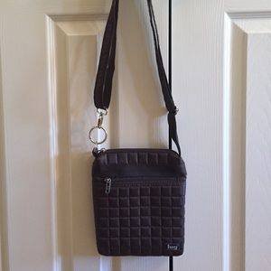 Lug quilted crossbody in chocolate brown.